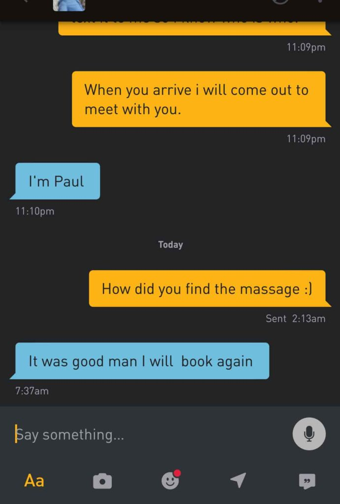 Sensual Massage Testimonial - Paul
